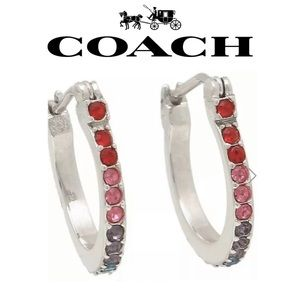 🎁 COACH Rainbow SWAROVSKI CRYSTAL Huggie Earrings